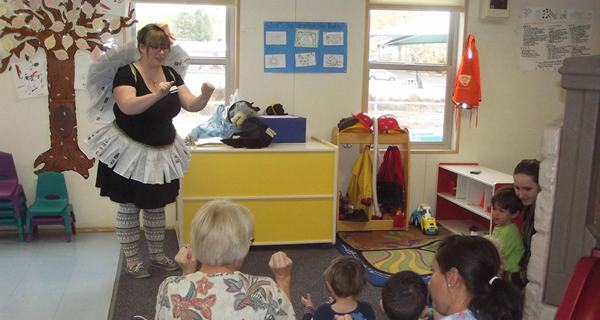 book fairy and montrose library childrens librarian lizz martinson reads to kids and parents