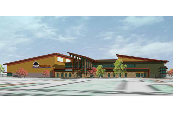 A drawing of the proposed Community Recreation Center by Denver Architects Barker Rinker Seacat. Courtesy image.