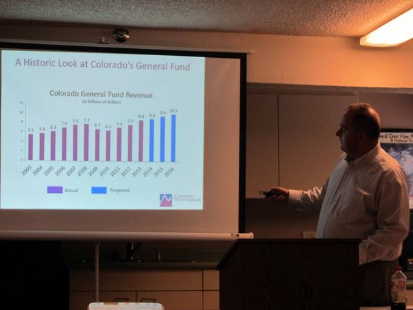 Tim Hoover of Colorado Fiscal Institute presented a snapshot of Colorado's budget at Region 10 July 30.